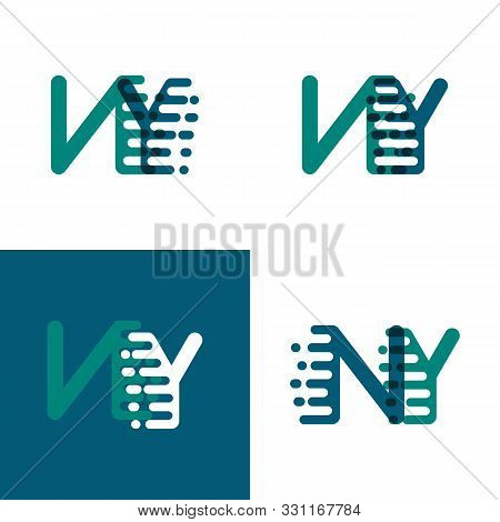 Ny Letters Logo With Accent Speed In Green And Dark Purple