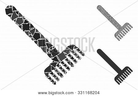 Broom Mosaic Of Abrupt Parts In Different Sizes And Color Tints, Based On Broom Icon. Vector Rough P