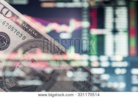 Us Dollar On A Trading Chart, Stock Exchange Or Currency Market. 10 Bucks On Forex