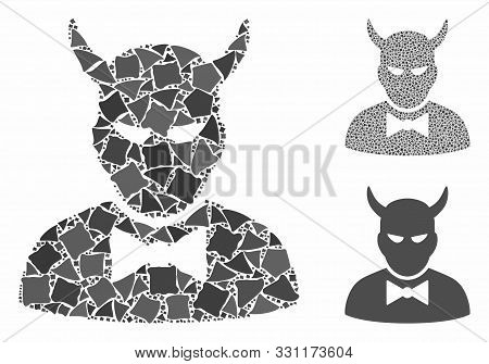 Devil Composition Of Joggly Pieces In Various Sizes And Color Tints, Based On Devil Icon. Vector Jog