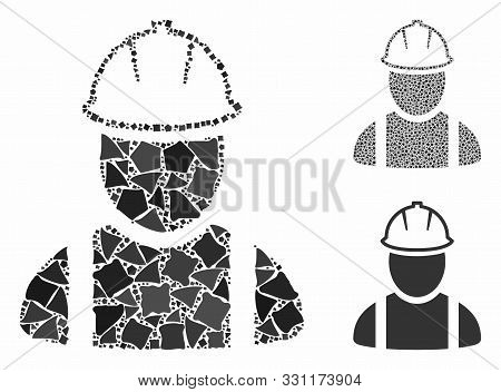 Worker Composition Of Trembly Parts In Different Sizes And Shades, Based On Worker Icon. Vector Trem
