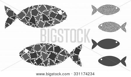 Fish Pair Mosaic Of Tuberous Parts In Various Sizes And Color Tones, Based On Fish Pair Icon. Vector