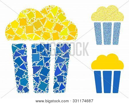 Popcorn Bucket Mosaic Of Trembly Parts In Various Sizes And Color Tints, Based On Popcorn Bucket Ico