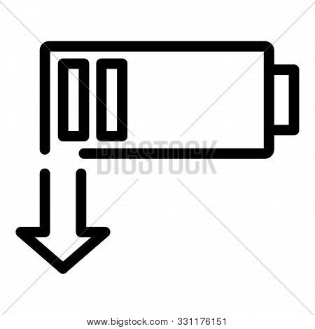 Discharged Battery Icon. Outline Discharged Battery Vector Icon For Web Design Isolated On White Bac