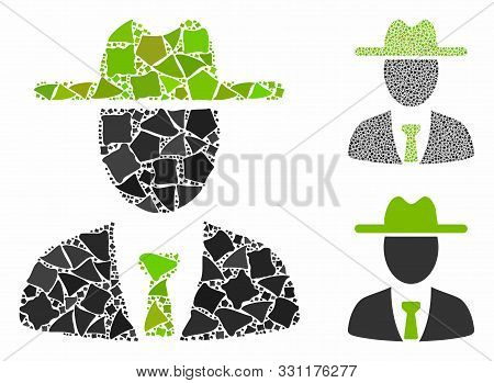 Farmer Boss Mosaic Of Humpy Items In Variable Sizes And Shades, Based On Farmer Boss Icon. Vector Hu