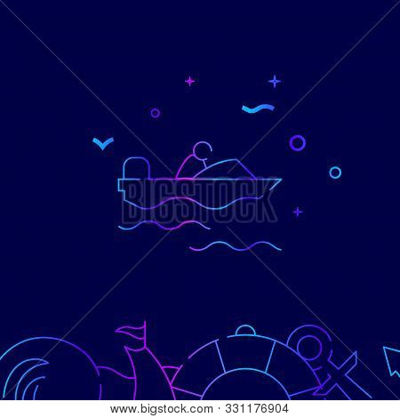 Powerboat, Motorboat Vector Gradient Line Icon, Illustration, Symbol Or Pictogram, Sign. Dark Blue B