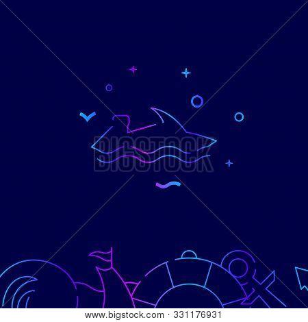 Water Bike, Jetski Vector Gradient Line Icon, Illustration, Symbol Or Pictogram, Sign. Dark Blue Bac