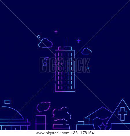 Skyscraper, High-riser Vector Gradient Line Icon, Illustration, Symbol Or Pictogram, Sign. Dark Blue