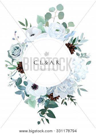Winter Grey And Green Jade Color Vector Design Round Card. Echeveria Succulent, Anemone, Hydrangea,