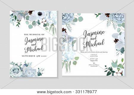 Winter Grey And Green Jade Color Vector Design Cards. Echeveria Succulent, Anemone, Hydrangea, Cotto