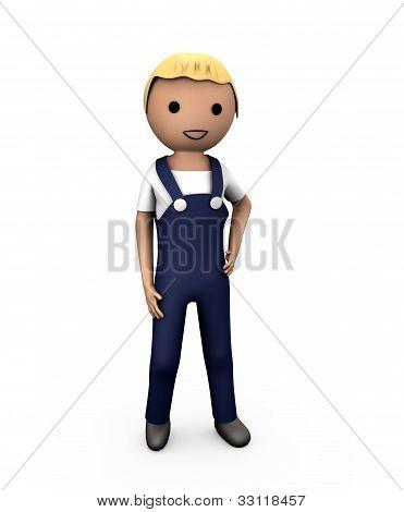 3D Blue Collar Workman