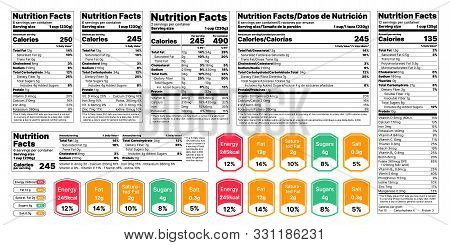 Nutrition Facts Label. Vector. Food Information With Daily Value. Data Table Ingredients Calorie, Fa