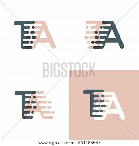 Ta Letters Logo With Accent Speed Pink And Gray