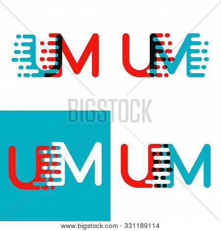 Um Letters Logo With Accent Speed Red And Blue