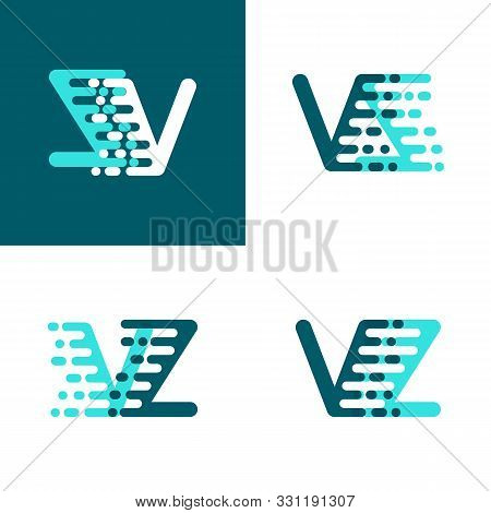 Vz Letters Logo With Accent Speed Green And Blue