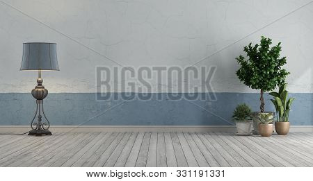 Empty Retro Room With Blue And White Old Room,floor Lamp And Plants - 3d Rendering