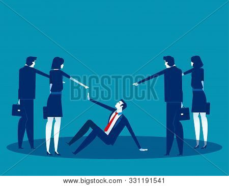Business People Pointing To Penalty In The Team. Concept Business Vector, Teamwork, Blaming, Bullyin