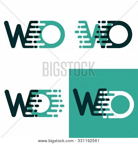 Wo Letters Logo With Accent Speed Green And Dark Green