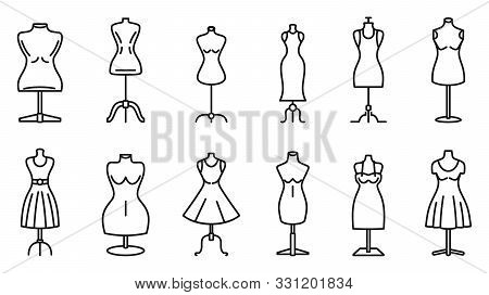 Mannequin Atelier Icons Set. Outline Set Of Mannequin Atelier Vector Icons For Web Design Isolated O