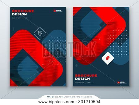 Dark Red Brochure Design. A4 Cover Template For Brochure, Report, Catalog, Magazine. Layout With Bri