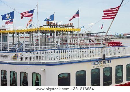 New Orleans, La/usa -june 14, 2019: Landmark Steamboats At Port Of New Orleans On Mississippi River.