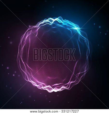 Sound Wave. Abstract Neon Background, Vector Music Voice, Song Waveform Digital Spectrum, Audio Puls