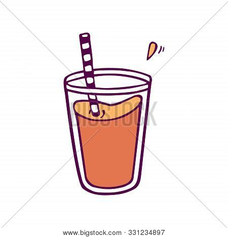 Glass Of Juice Or Smoothie. Hand-drawn In Cartoon Style,  Colored Artwork Isolated On White Backgrou