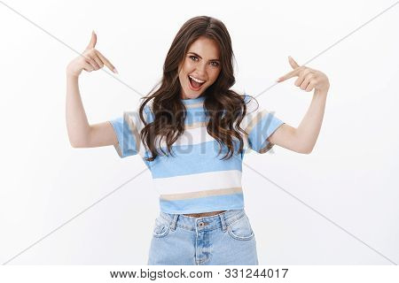 Proud Ambitous Good-looking Cheeky Brunette Woman Boastful Telling Own Accomplishment, Brag Personal