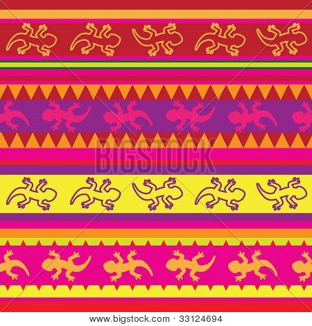 mexican lizard fabric seamless pattern