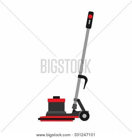 Floor buffer service machine cleaner equipment. Vector business washing janitorial home. Mop cleanup scrubber store poster