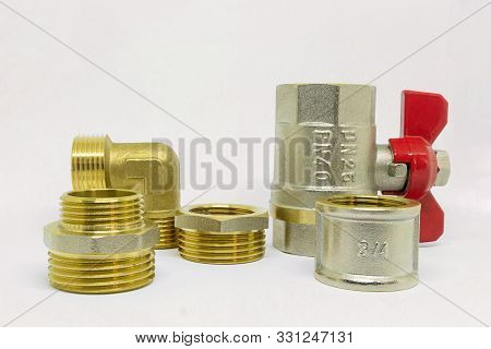 Plumbing Fitting And Ball Valve, Fitting For Water Supply System In House, Tools And Equipment. Isol