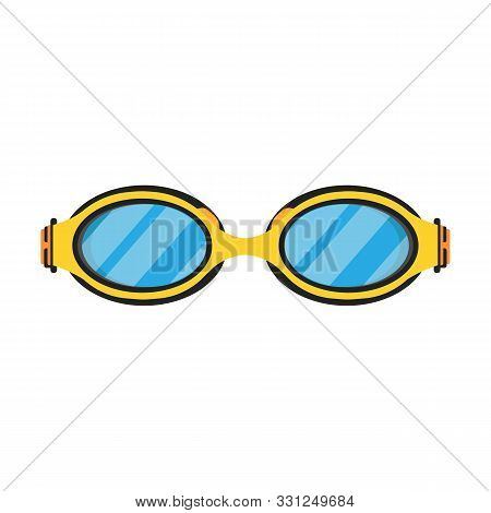 Swimming Goggle Yellow Sport Water Glass Pool Vector Flat Icon. Isolated Equipment Leisure Diving Un
