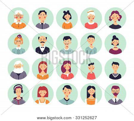 People Avatars Genealogical Family Tree Elements Isolated Icons