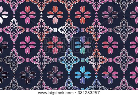 Seamless. Pattern. Color Bouquet Of Flowers Roses On The Black Background Using Traditional Ukrainia
