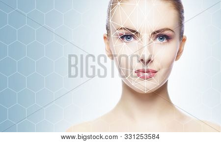 Face Of A Beautifyl Girl With A Scanning Grid On Her Face. Face Id, Security, Facial Recognition, Au