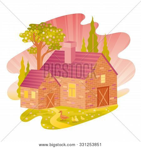 Spring Landscape. House Feom Four Seasons Seria. Cartoon Rural Home In Vintage Style. Retro Country