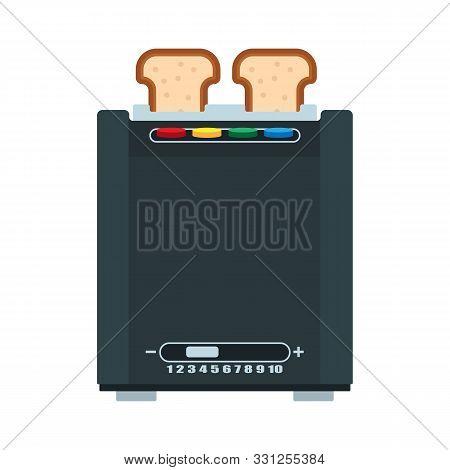 Bread Toaster Vector Illustration Food Kitchen. Breakfast Cartoon Appliance Isolated Equipment. Oven