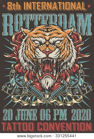 Rotterdam Tattoo Convention Colorful Poster With Angry Cruel Tiger Head In Fire Crossed Tattoo Machi