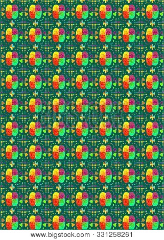 Colorful Seamless Pattern With Rhombuses And Abstract Flowers