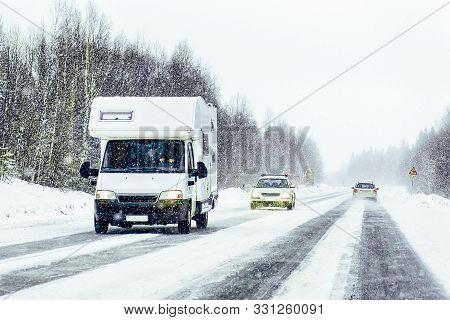 Caravan In Road In Rovaniemi Finland Of Winter Lapland