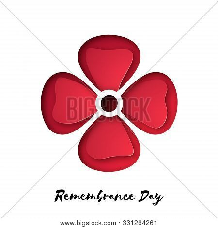 Remembrance Day Also Known As Poppy Day. Vector Poppy Design For Commonwealth Armistice Freedom And