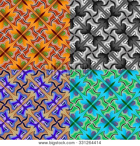 Seamless Pattern Of Abstract Butterflies In The Style Of Escher, Tessellation. Vector Eps 10