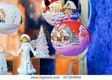 Christmas Tree Decorations In Christmas Market Charlottenburg Berlin