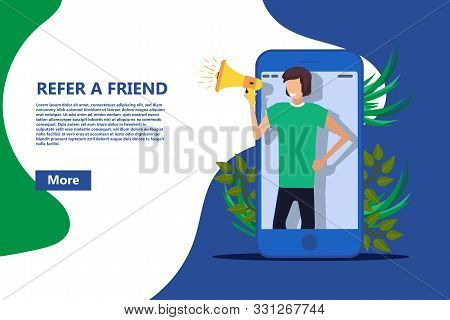 Refer A Friend Vector Business Poster, Referral Person With Megaphone Buzz Alert. Money Job Recommen