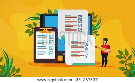 Online Exam Vector Test Survey Result Quiz Form Answer. Document Study Poll Digital Education Flat S