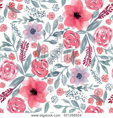 Beautiful Seamless Pattern With Mess Of Hand Drawn Watercolor Pink Flowers And Blue Leaves On White