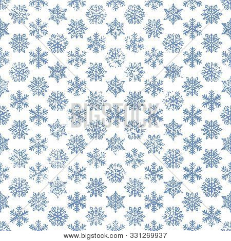 Seamless Winter New Year And Christmas Pattern. Vintage Print For Gift Wrapping. Grunge Texture. Set