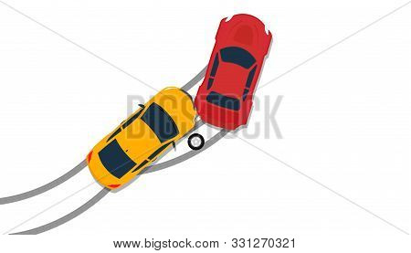 Car Crash Accident Top View Vector Insurance Illustration. Down Broken Claim Automobile Isolated Ico