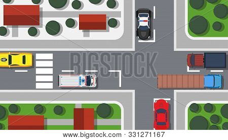 Crossroad Top View Vector Illustration Building Map. City Car Game Landscape Traffic Urban. Pedestri
