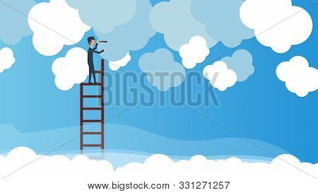 Business Vision Vector Concept Illustration Leadership With Ladder And Telescope In Cloud. Future Bu